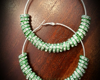 Lime Green Crystal Beaded Hoop Earrings 3.15 inches (80mm)
