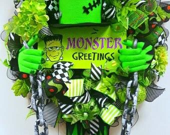 Halloween Wreath, Frankenstein Deco Mesh Wreath, Fall Wreath, Autumn Wreath, Halloween Mesh, Halloween Decor Halloween Outdoor wreath