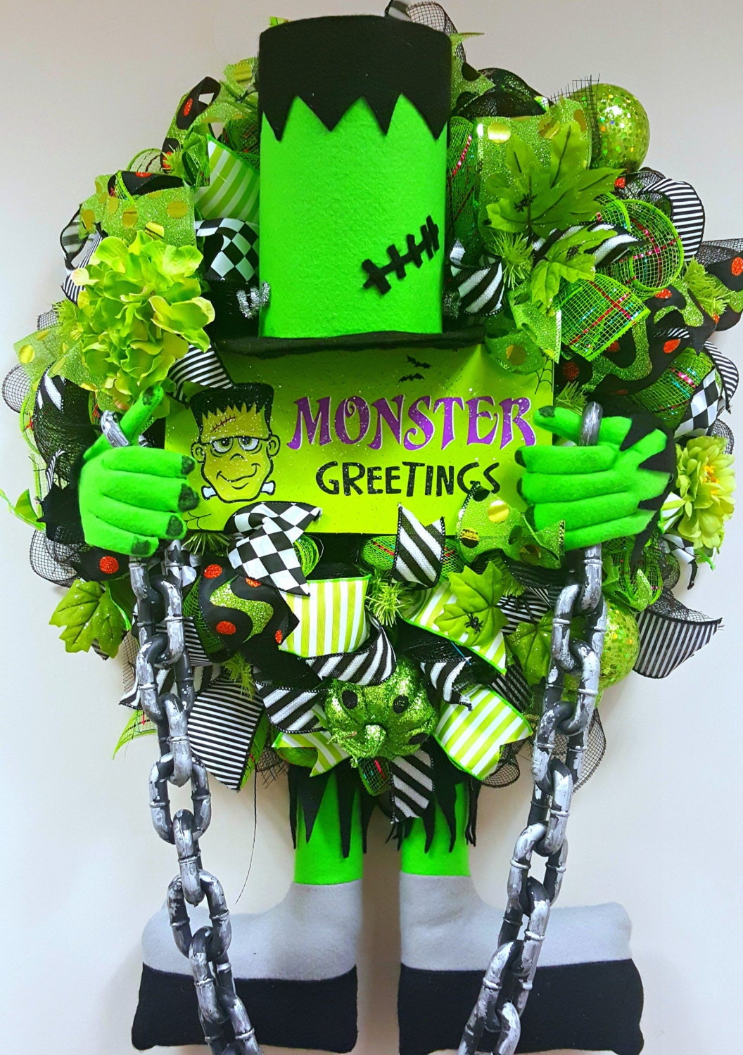 Halloween Wreath Frankenstein Deco Mesh Wreath Fall Wreath