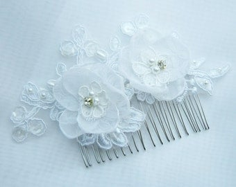 White Bridal Lace Wedding Hair Comb ,Wedding Lace & Silk Organza Flower Hair Comb,Bridal Accessories