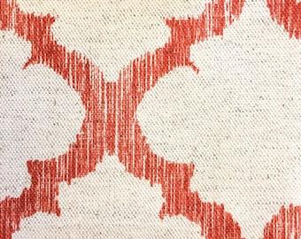 Mango Red, Coral Geometric Lattice Designer Pillow Cover- Linen Pillow- Accent Pillow- Throw Pillow- Trellis Pillow