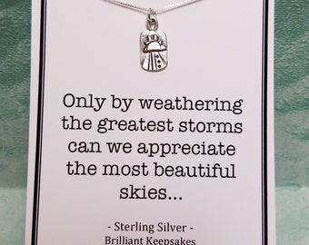 Strength Quote Sterling Silver Sunshine Charm Necklace