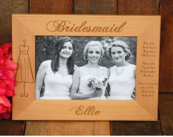 10 Personalized Bridesmaid Dress Frame, Custom Engraved Photo Frame - Bridesmaid, Maid of Honor, Flower Girl Gift - Urban Farmhouse Tampa
