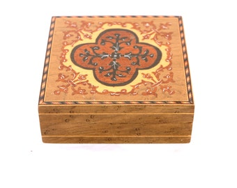 Vintage Small Marquetry Wooden Box, Italian Wooden Box, Art Deco Marquetry Box, Small Square Decorative Wooden Box, Wood Jewellery Box,