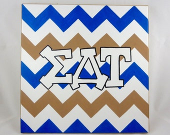 hand painted Sigma Delta Tau letters outline with chevron background 12x12 canvas OFFICIAL LICENSED PRODUCT