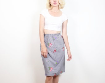Vintage 80s Midi Skirt Black White Gingham Check Plaid Painted Floral Print Pencil Skirt 1980s Preppy Knee Length Spring Tulip Skirt S Small