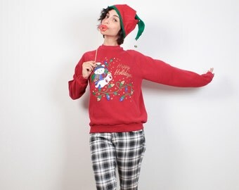 Vintage Tacky Christmas Sweater Red Lights Teddy Bear Print Ugly Xmas Sweater Party Gold Glitter Ugly Christmas Sweatshirt Jumper M Medium L