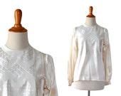 White Blouse Silk Blouse Satin Blouse Small Blouse Vintage Clothing Blouses 1930s Blouse, 30s Blouse,  Art Deco, Women Tops Blouses
