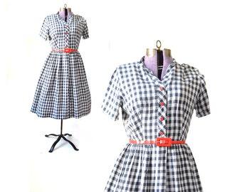Shirtdress, 1950s Dress, 50s Dress,  Gingham Dress, 1950s Red White Blue Dress, 50s Plaid Dress, Womens Clothing, 50s Vintage Clothing