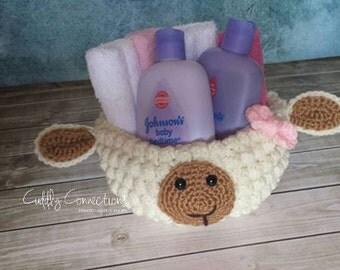 Lamb Basket, Crochet Baby Shower gift BASKET only, Diaper Cake, Easter Basket
