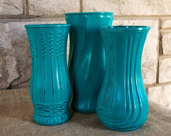 Vintage Painted Vases, Shabby Chic, Turquoise Vases