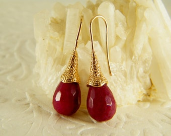 Ruby gold earrings, Dangle earrings, Tear drop earrings, Red stone earrings, Bridesmaid earrings, birthstone earrings, Gold filled earrings