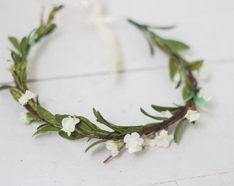 Simple Beautiful White+Greenery Flower Crown with Ribbon Tie