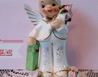 Vintage Napco 1956 May Birthday Boy Angel Figurine Label #A1921 #Epsteam