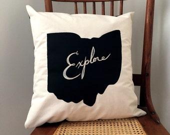 Explore Ohio Pillow - State of Ohio Pillow Cover