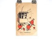 Antique Valentine Postcard - Love's Trolley Car - Vintage Postcard - Paper Ephemera - Red Hearts - Green Franklin One Cent Stamp