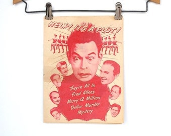Vintage Movie Poster Handbill - Movie Flyer - Lobby Ad Vintage Advertising 1940s Hollywood Movie - Fifth Chair It's In The Bag-  Fred Allen