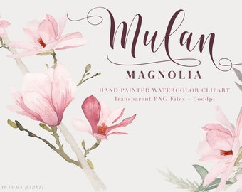Magnolia Watercolor Flowers Clipart Files - High Res Transparent PNG - Hand Painted Digital Scrapbook elements - Instant download