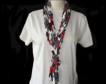 Crochet Necklace, Red Necklace, Womens Jewelry, Scarf Necklace, Handmade Jewelry, Gift for Mom