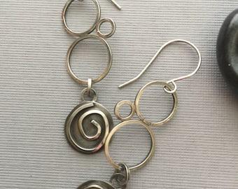 Artisan Earrings, Sterling Silver, Dangle Earrings, Orbits, Contemporary, Modern, Drop Earrings, Spirals, Handmade Jewelry