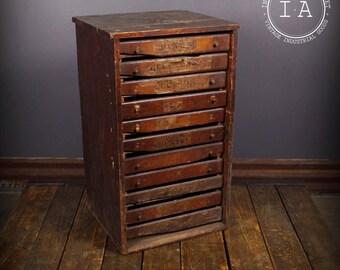 Vintage Industrial 11 Drawer Wooden Print Cabinet Parts Cabinet
