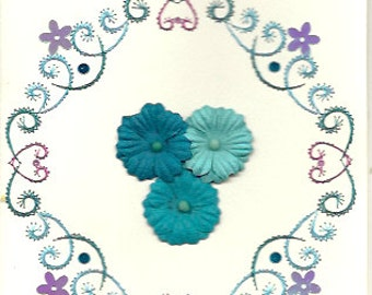 turquoise flowers with hearts