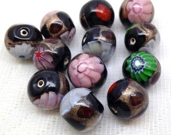 12 Vintage Mixed Murano Round Glass Beads