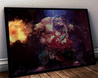 Dota 2 Poster. Dota Pudge Painting Print. Mounted Canvas available on request details in listing