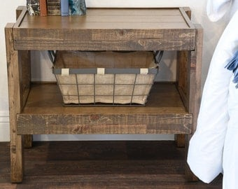 Reclaimed Nightstand End Table  - Pallet Wood & Barn Wood Style Side Table - presEARTH Spice
