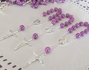 30 baptism favors lilac faux with Organza bags / recuerdos de bautizo/christening Favors/communion favors/ mini Rosary  lilac  baptism commu