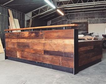 Reclaimed Wood & Steel Reception Desk (10')