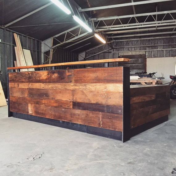 Reclaimed Wood & Steel Reception Desk 10'