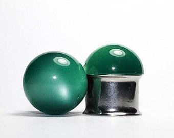 Clearance: Vintage Green Moon Glow Plugs, gauges   9/16, 5/8