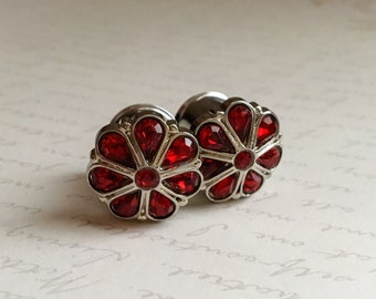 Red Teardrop Rhinestone Wedding Plugs, gauges   3/4, 7/8