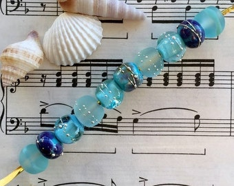 Turquoise with a Touch of Purple Handmade Lampworked Pure Silver Trailed Etched Seaglass Glass Beads