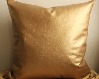 gold metallic faux leather pillow cover