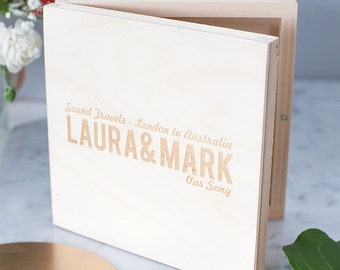 Personalised Name Journey CD Box - Wedding DVD Case - Personalised Couples Gift - Music Lover Gift - Wooden Box - Keepsake Box - CD Sleeve