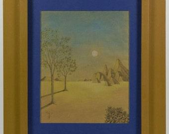 Modern Italian Surrealist Moonlight Landscape by Voltolini