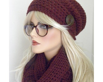 Ox Blood Scarf and Hat Set, Burgandy Infinity Scarf, Winter Fashion, Winter Accessory, Hat with Button, Burgandy hat, Gift for Women