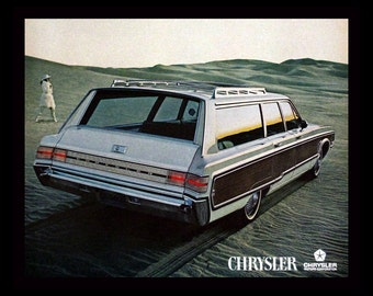 1968 Chrysler Town & Country Station Wagon Ad - VW - Wall Art - Home Decor - Retro Vintage Car, Auto  Advertising