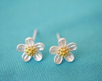 Flower earring studs 925 silver