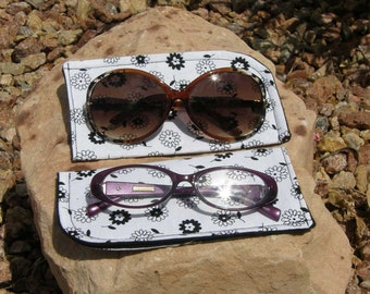 Black and White Floral Eyeglass/Sunglasses Case