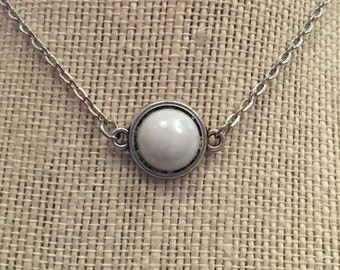 "22"" White Pearl Pendant Necklace"