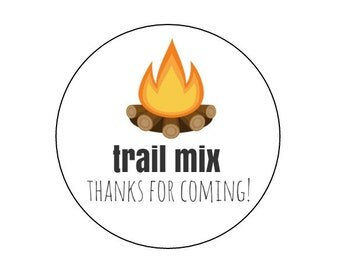 20 Campfire Stickers, Trail Mix, Camping Theme, Camping Favors, Campfire Labels, Camping Birthday, Party Favors, Trail Mix Labels, Party