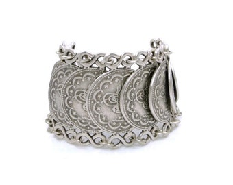 Silver Gypset Tribal Large Coin Link Bracelet
