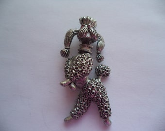 Vintage Signed JJ Silver pewter Standing Poodle Brooch/Pin  Red Eyes