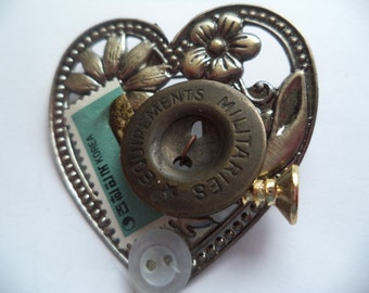 Vintage Unsigned Multi coloured Steampunk  Heart Brooch/Pin   Lightweight