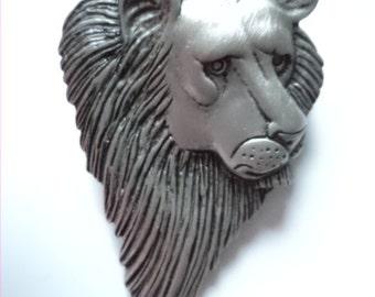 Vintage Signed JJ Silver pewter Lion's Face Brooch/Pin