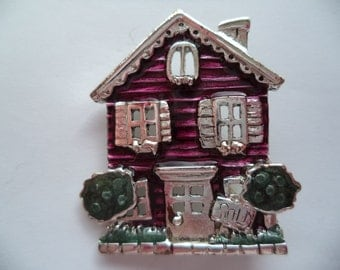 Vintage Signed Danecraft Silvertone/Red House Brooch/Pin  Small
