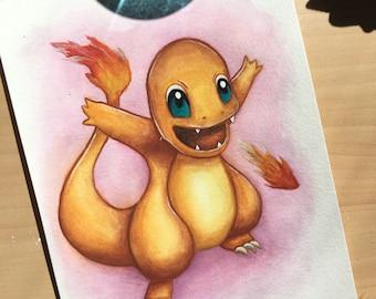 Pokemon Charmander watercolor print